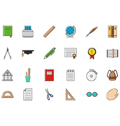 Education colorful icons set vector image vector image
