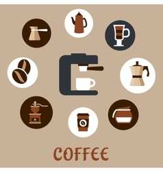 Flat coffee icons around the coffee machine vector image