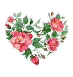 Floral abstract heart of roses vector image vector image