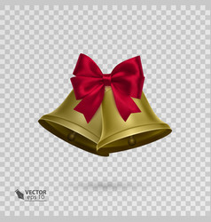 Jingle bells with red bow on transparent vector