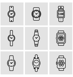 line wristwatch icon set vector image