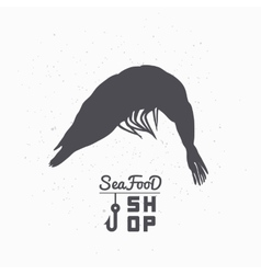 Shrimp silhouette Seafood shop branding template vector image vector image