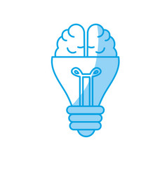 Silhouette bulb with brain to creative idea vector