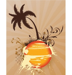 Vintage summer background with palm tree vector