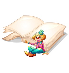 A clown with a book at the back vector image