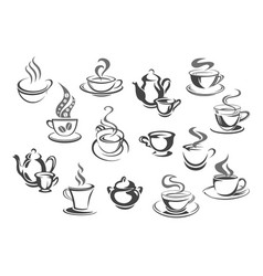 cup of coffee and tea teapot sugar bowl icon set vector image vector image