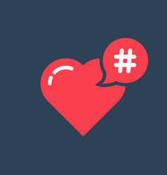 red hashtag icon like heart vector image vector image