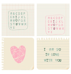 set of hand-written love cards vector image vector image