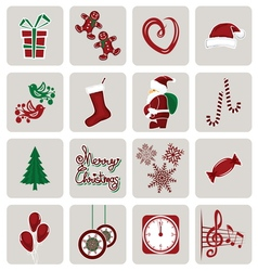 Set of icons for New Year and Christmas vector image vector image
