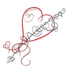 Decorative heart and arrow vector image