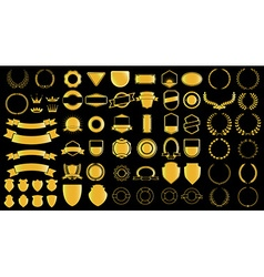Gold style ladels and badjes generator vector image