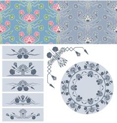 set of lotus decoration design element vector image vector image
