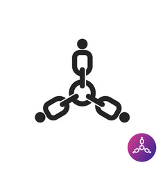 three people links together icon vector image