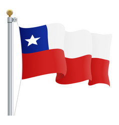 waving chile flag isolated on a white background vector image vector image