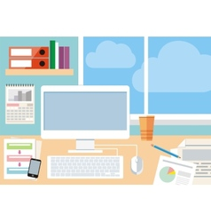 Workplace with computer smartphone and window vector image
