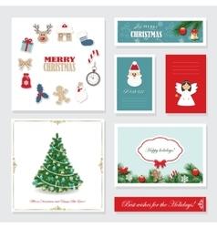 Christmas card templates set vector image vector image