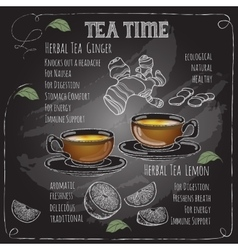 Herbal Tea Time card with cup teapot Lemon vector image vector image