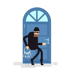 isolated thief burglar sneaks to vector image