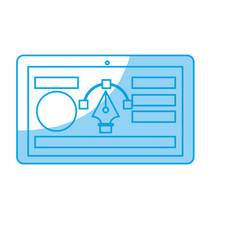 Silhouette tablet with business website and arrow vector