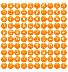 100 sea icons set orange vector