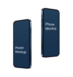 3d realistic phone mockup flying up blue mobile vector