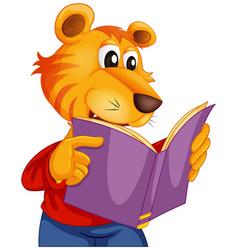 a tiger reading book vector image