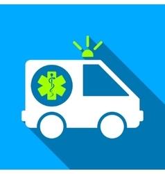 Ambulance Car Flat Long Shadow Square Icon vector