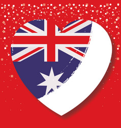 australian flag on heart in red background with vector image