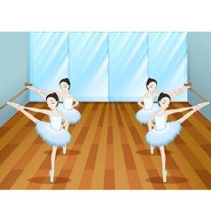 Ballet dancers rehearsing at studio vector