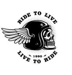 Biker skull in helmet with wing on white vector