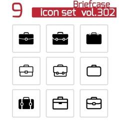 Black briefcase icons set vector