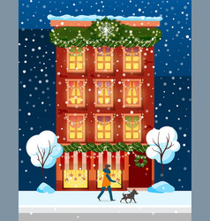 building with winter festive decoration new year vector image