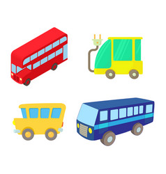 bus icon set cartoon style vector image