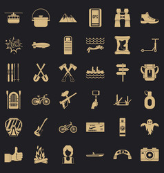 camping adventure icons set simple style vector image