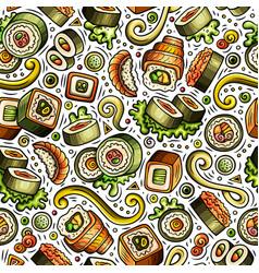 cartoon cute hand drawn japan food seamless vector image