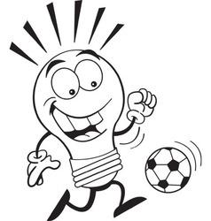 Cartoon light bulb playing soccer vector