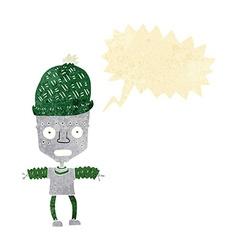 Cartoon robot wearing hat with speech bubble vector