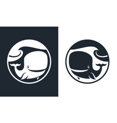 Cartoon whale character cut out round icon vector