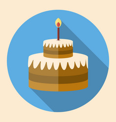 chocolate birthday cake flat icon with long shadow vector image