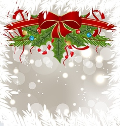 Christmas frosty card with holiday decoration vector