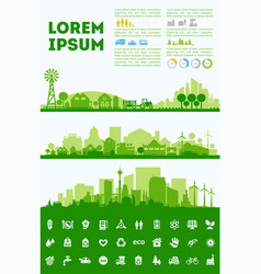City skyline colored sets districts banners vector