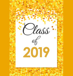 class 2019 poster with golden confetti glitter vector image