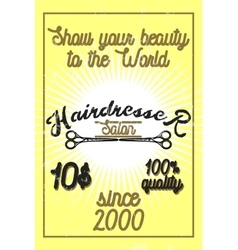 Color vintage hairdresser salon banner vector image