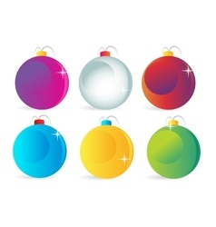 Colorful christmas balls icons set vector