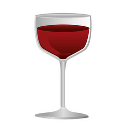 Colorful silhouette of glass cup with red wine vector