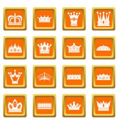 crown icons set orange vector image