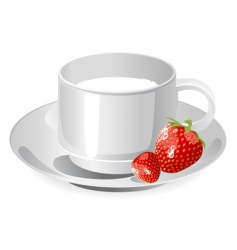 cup of milk and strawberry vector image