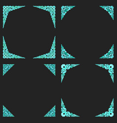 Curved stone mosaic page corner design set vector