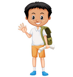 cute boy with backpack and paper greeting on vector image