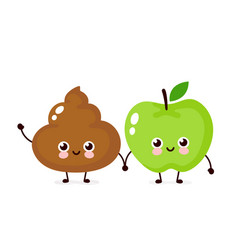 cute happy smiling apple and poop vector image